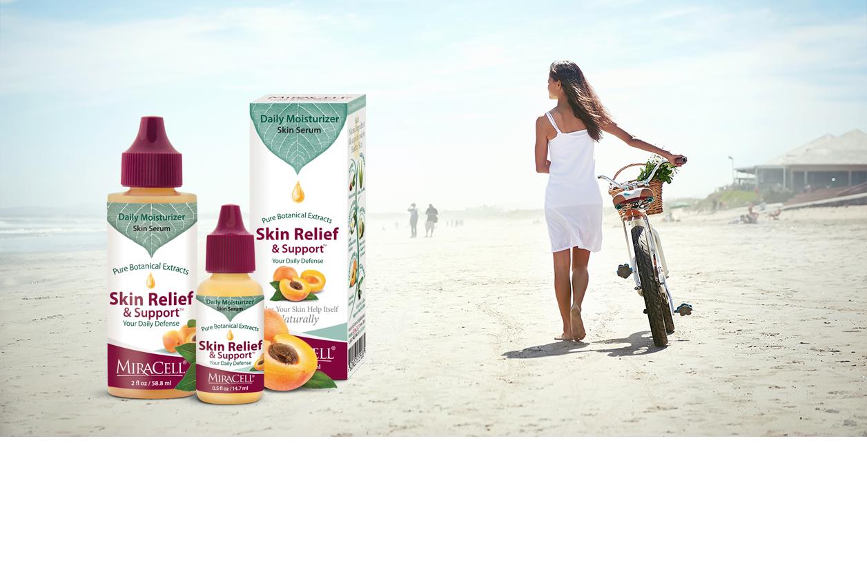 skin relief support banner woman walking on beach banner